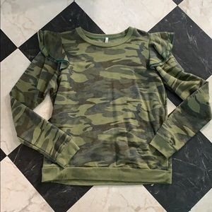 Tops - Camouflage with ruffle shoulder detail sweatshirt